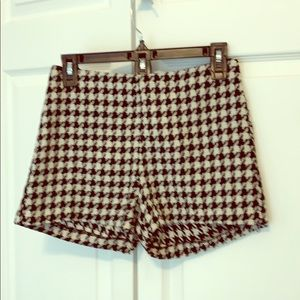 Houndstooth shorts.